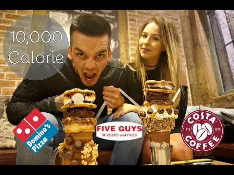 10,000 CALORIE CHALLENGE | Fitness Couple EPIC CHEAT MEAL!