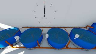 RAS FOR FISH PRODUCTION. 3D ANIMATION  //  УЗВ ДЛЯ ВЫРАЩИВАНИЯ РЫБЫ. 3Д АНИМАЦИЯ