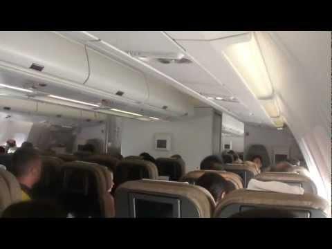 Inside Swiss Airbus A340-300 (flight Shanghai - Zuerich)