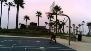 Izzy-D playing ball Dunking at Venice Beach Ca