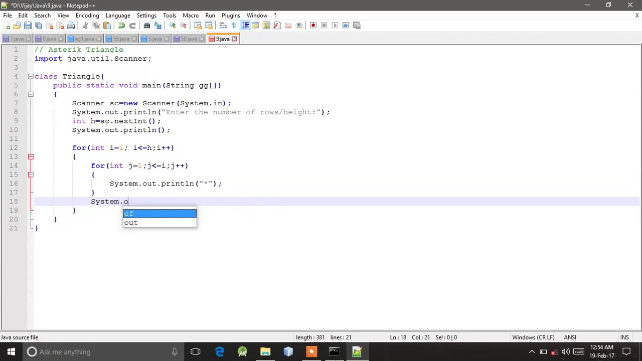 9 Java Programming : Pattern- Asterisk & Number Triangle. - YouTube