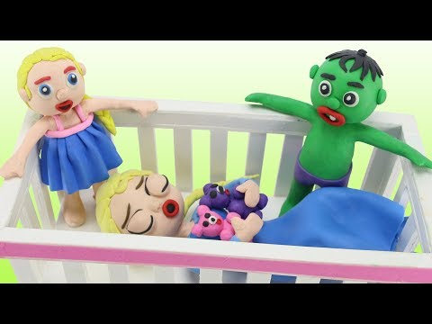 FROZEN ELSA FALLS ASLEEP IN A CRIB 💗 Bad Baby Elsa Frozen & Hulk Play Doh Cartoon Stop Motion