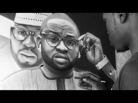 Hyperrealistic Pencil Portrait Drawing of Two Pictures in One Uncut (No Time Lapse)