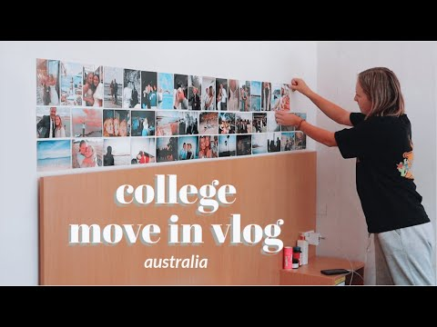 MOVING INTO COLLEGE IN AUSTRALIA!   setting up and decorating my room vlog 2021