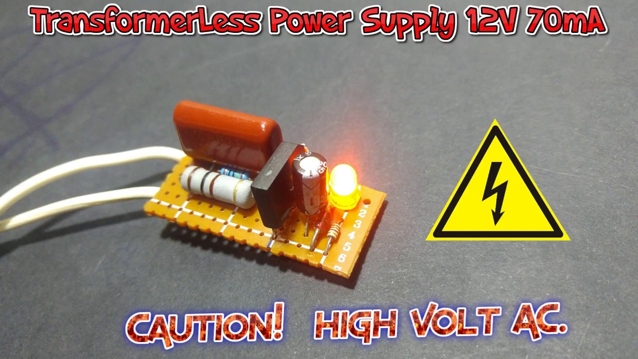 how to make a transformerless power supply 220v 12v  [ 1280 x 720 Pixel ]