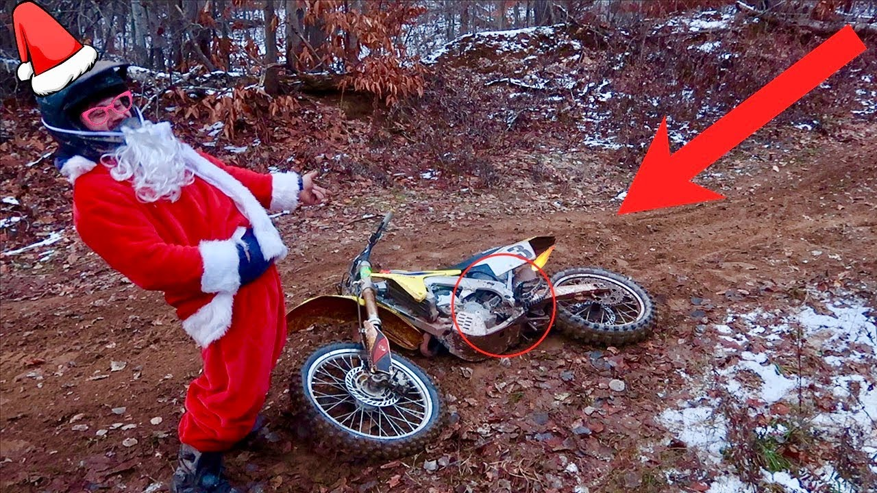 santa shreds his dirt bike he destroyed it youtube. Black Bedroom Furniture Sets. Home Design Ideas