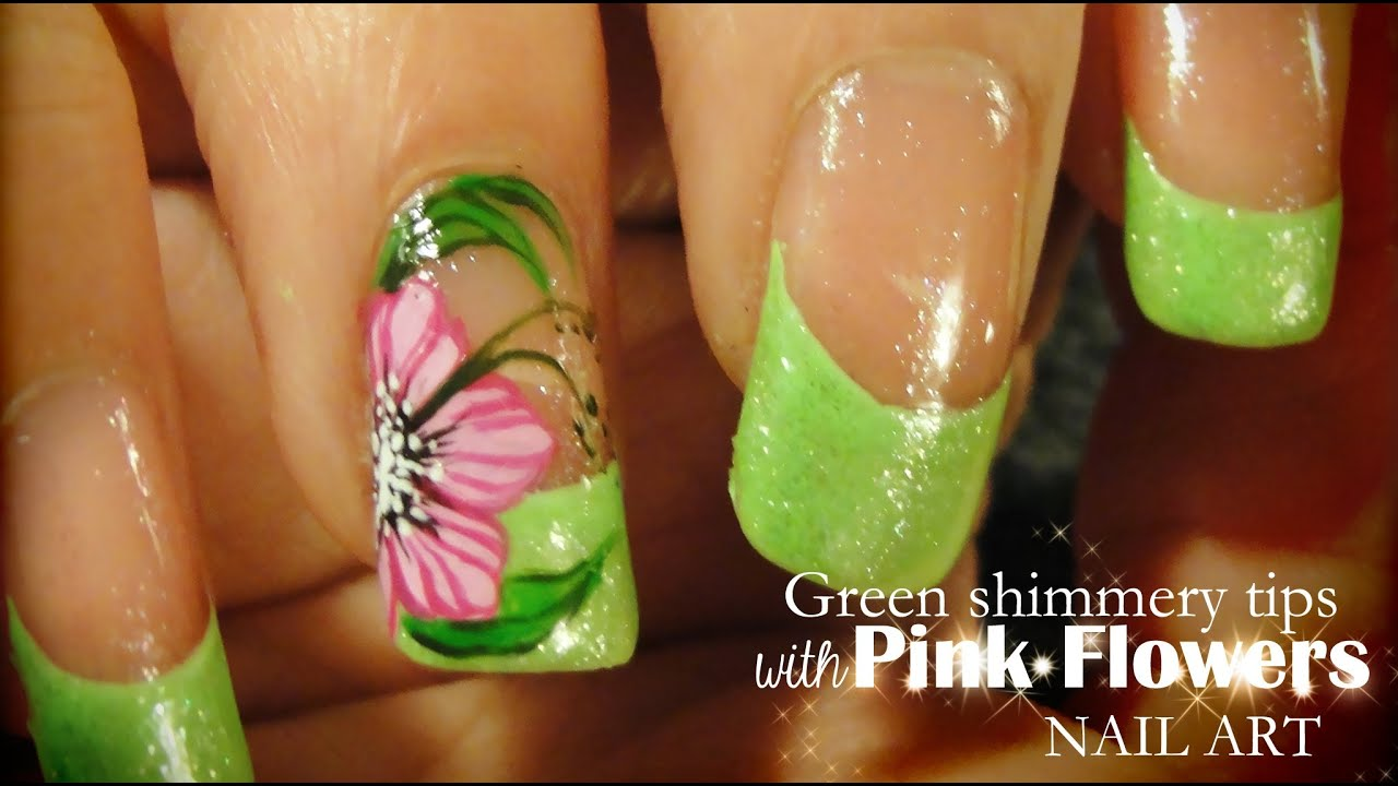 Green shimmery tips pink flowers nail art youtube prinsesfo Gallery