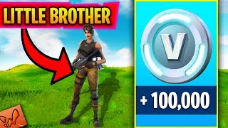 SURPRISING MY LITTLE BROTHER WITH FREE V BUCKS FOR HIS BIRTHDAY! (Fortnite Battle Royale)