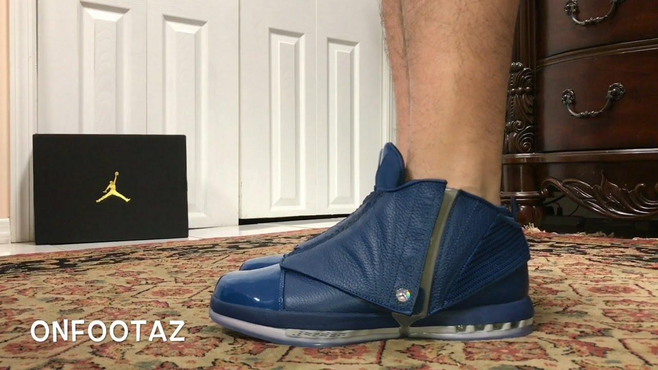 cc5838d922b1 Air Jordan 16 XVI Trophy Room French Blue On Foot - YouTube