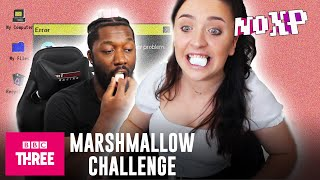 How Many Marshmallows Can You Catch? Jemel One Five Vs bambinobecky | No XP Episode 3