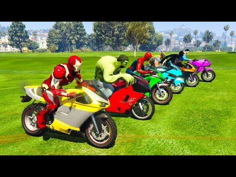 Thumbnail: Color Motorcycles with Superheroes for kids and babies 3D animation Funny Jump!