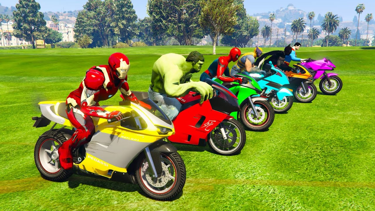 Color Motorcycles with Superheroes for kids and babies 3D
