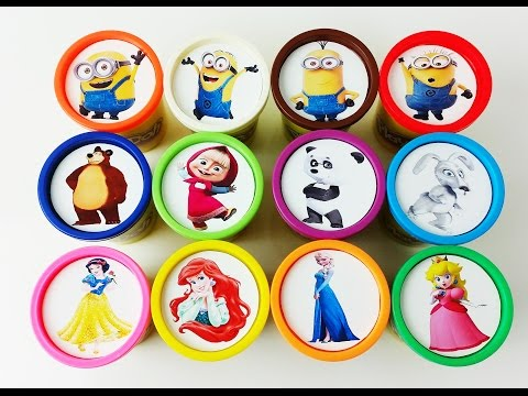 Thumbnail: Learn colors Play Doh Cups Surprise Toys Disney Princess Masha and The Bear Minions Nursery Rhymes