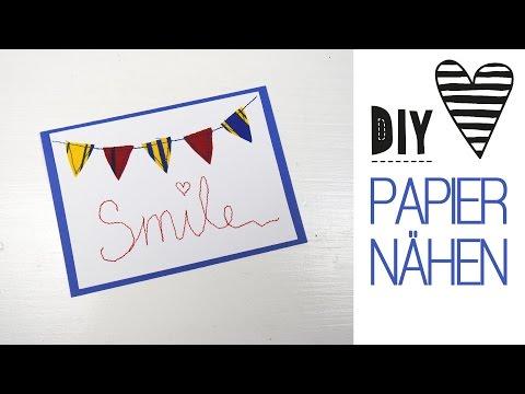 DIY ♥ Auf Papier Nähen / Schöne Karten Selbst Machen