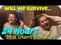 24 HOURS IN A GIANT BOX FORT MAZE WITH MY SISTER || Taylor and Vanessa