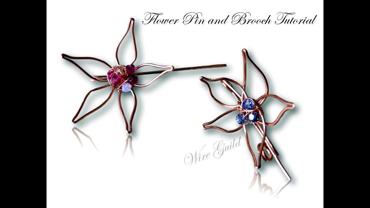 Flower Stick Pin Wire Wrap Tutorial - YouTube