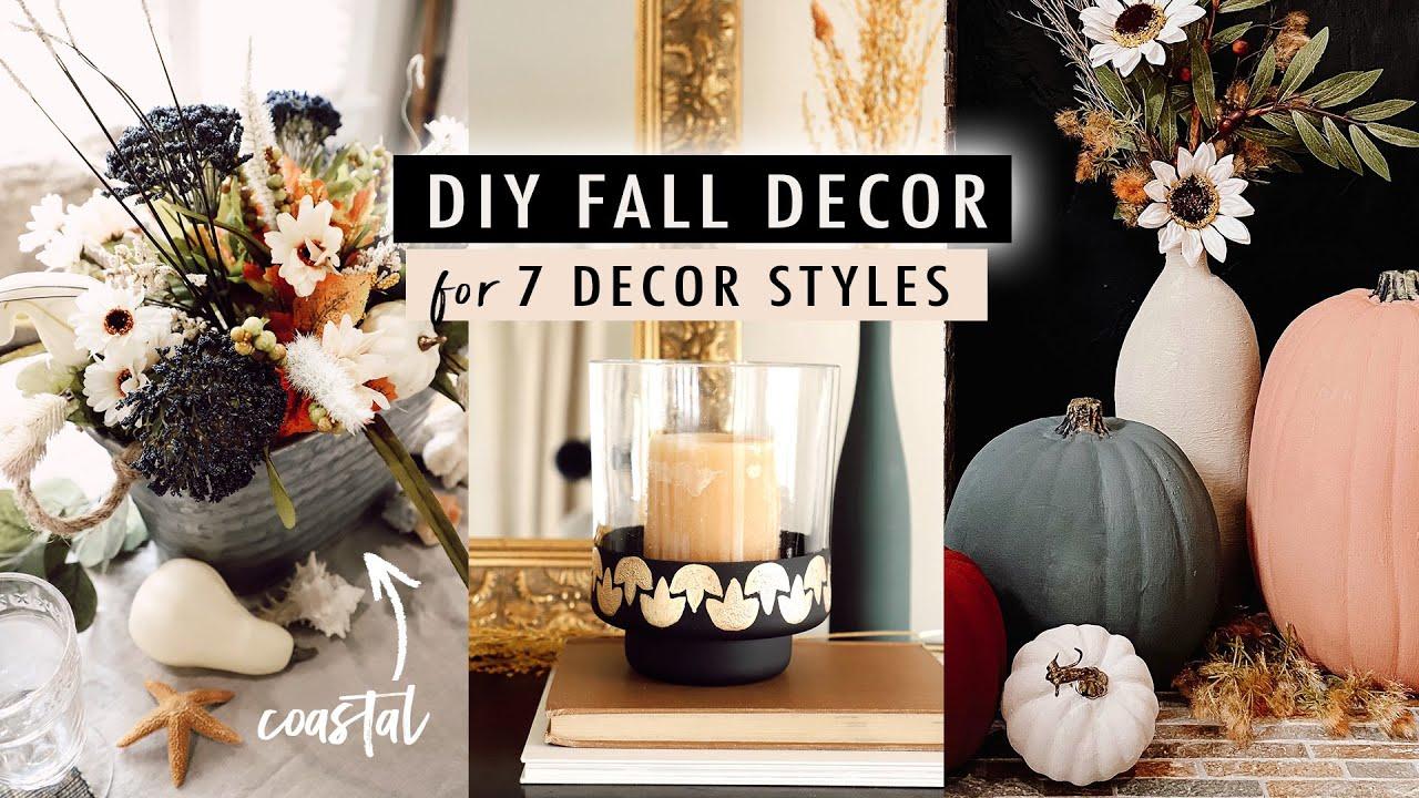 DIY FALL DECOR for 7 Interior Decor Styles *Bohemian, Art Deco, Coastal, Mid-Century, and more*