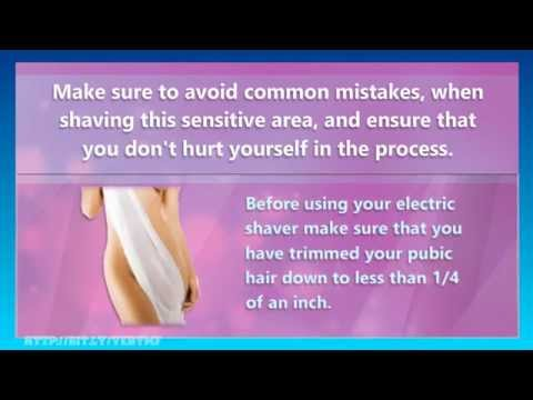 Pubic hair shaved with electric razor