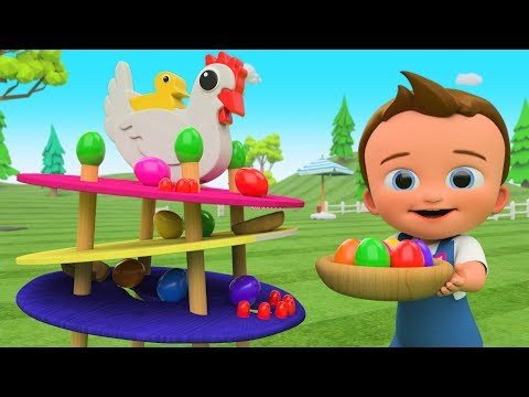 Little Ba Fun Play Learn Colors for Children with Chicken Lay Color Eggs Slider ToySet 3D Kids Edu
