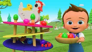 Little Baby Fun Play Learn Colors for Children with Chicken Lay Color Eggs Slider ToySet 3D Kids Edu