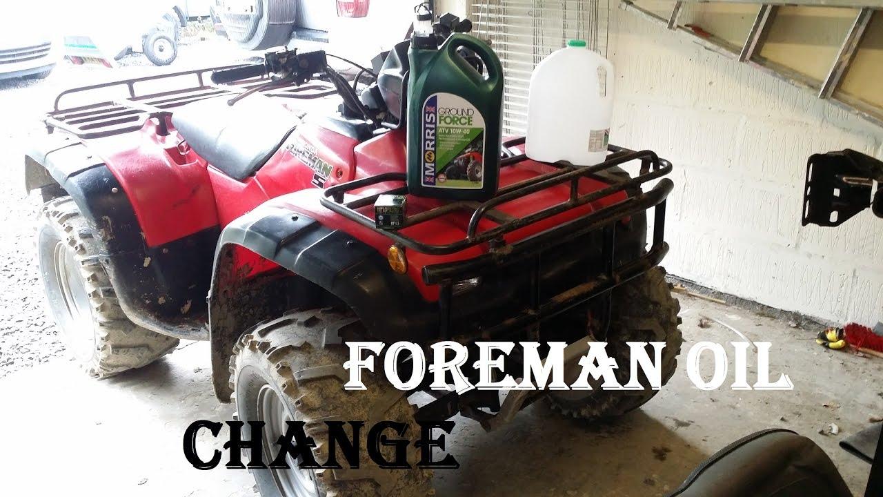change atv quad bike engine motor oil  honda foreman  km youtube