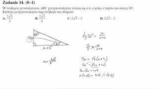 Matura operon 2017 zadanie 14 W trójkącie prostokątnym ABC przyprostokątne różnią się o 4, a jeden z