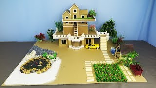 How to Make a Most Beautiful Villa From Cardboard ~ Fish Pond ~ Fairy Garden ~ Gazebo - Dream House