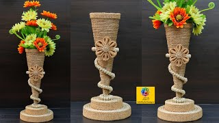 Beautiful flower vase decoration idea with jute rope | Best Out Of Waste Home Decor Jute Flower Vase