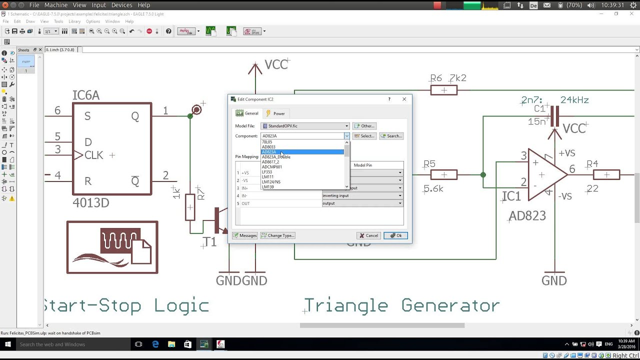 EAGLE Schematic Simulation assigning Spice models to Components ...