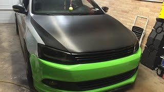 Avery Dennison Black Carbon Fiber Vinyl MKVI Jetta Hood Wrap w/ Gawriluk Wraps and Fellers