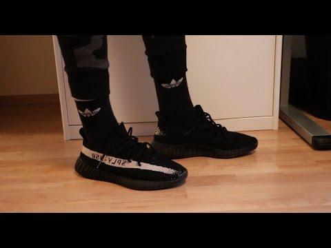 bdafea065e8ba adidas yeezy 350 boost v2 black on feet adidas yeezy boost 750 fake