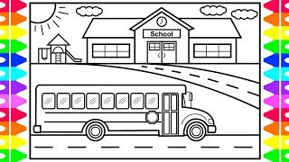 How to Draw a School Bus 💛🧡🎓School Bus Drawing | Back to School Drawings for Kids