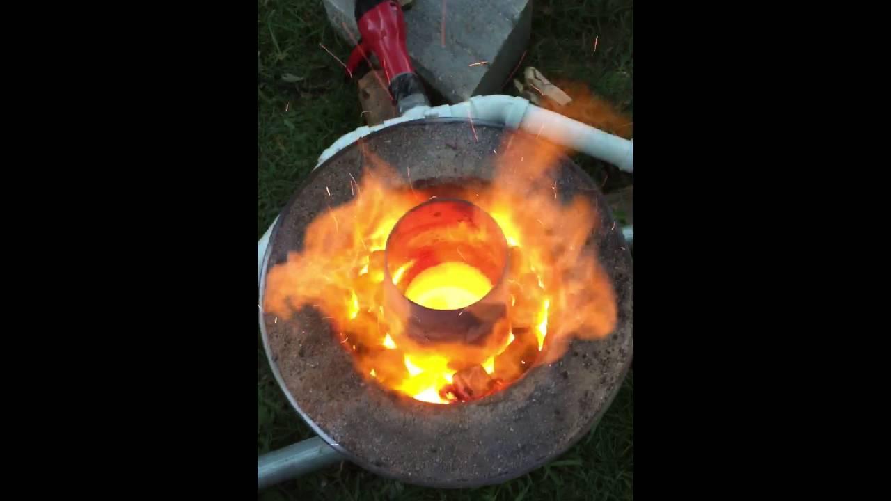 homemade charcoal blast furnace youtube