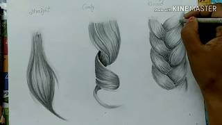 How to draw: straight, curly & braid | easy hair sketch tutorials