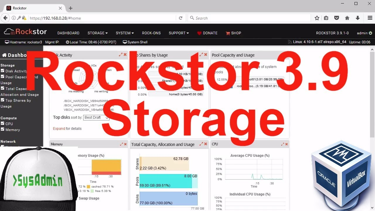 Rockstor 3 9 1 NAS Storage Installation + Configuration + Overview on  Oracle VirtualBox [2017]
