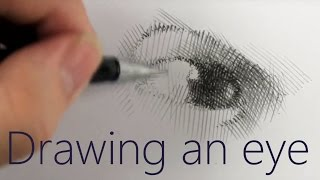 DRAWING - How to draw an eye - Narrated Tutorial - hatching, shading