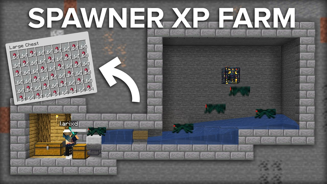 Minecraft Cave Spider Spawner Xp Farm Super Easy Design Youtube