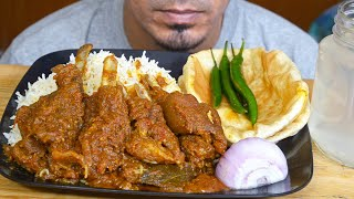 BAS ASMR - Eating Spicy Mutton Gravy, Long Rice, Bhature, Onion, Chili - Big bites mukbang show