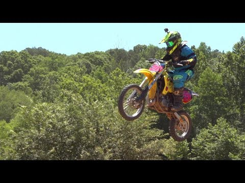 kids on dirt bikes having fun. We loaded them up to go practice dirt bike riding.
