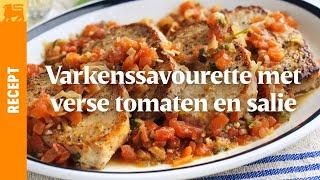 Varkenssavourette met verse tomaten en salie