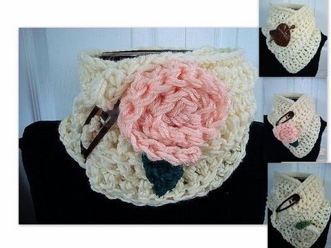 How To Crochet An Easy Crochet Cowl Scarf And Flower By