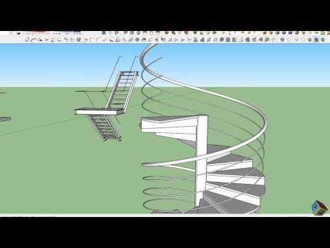 como hacer escaleras    en sketchup   plugin 1001 bits tool