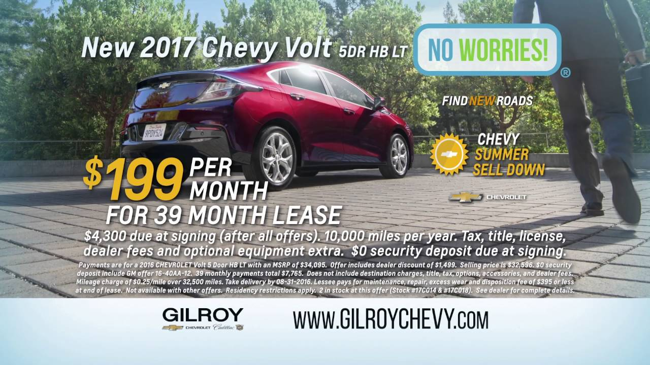 Chevy Volt Lease >> 199 A Month 2017 Volt Lease Only At Gilroy Chevrolet Cadillac