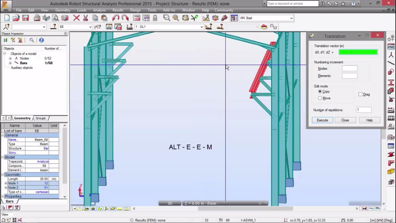 Exercise 5 - Part 4 - Moving Load - 3D Frame (Robot Structural Analysis) by  Nuno Teixeira - Robot Structural Analysis