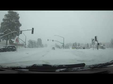 Flagstaff Snow Storm. 2/21/19, Flagstaff Arizona Streets During Wednesday Snowday.