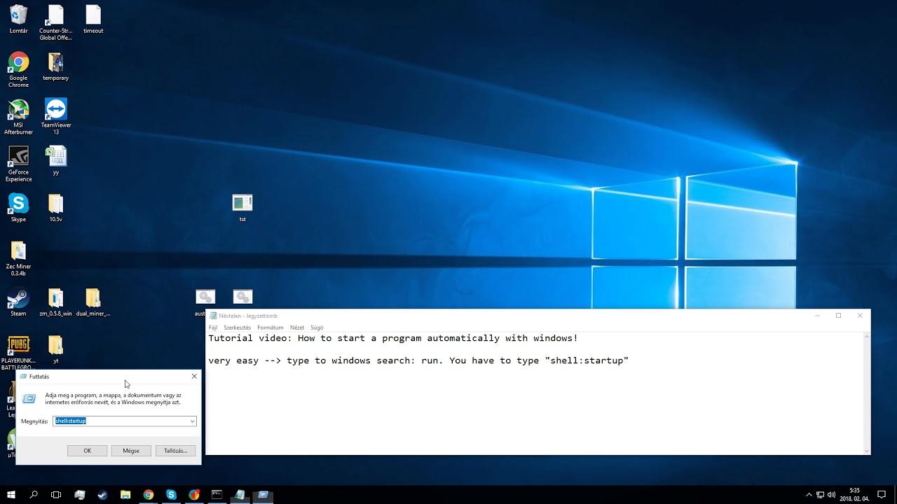 create a startup program windows 10