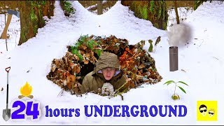 WINTER SURVIVAL - UNDERGROUND SHELTER IN THE FOREST