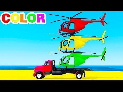 Aprender Helicóptero De Color En El Camión Cartoon Spiderman De Coches Para Niños Y Rimas