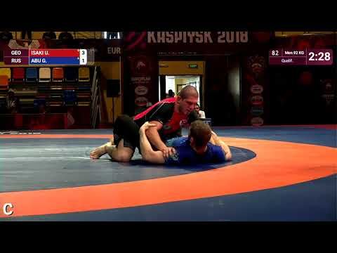 Qual. Men - 92 kg: U. ISAKI (GEO) v. G. ABU (RUS)