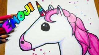 Dibuja al Emoji de Unicornio paso a paso (fácil) con lápices de colores.